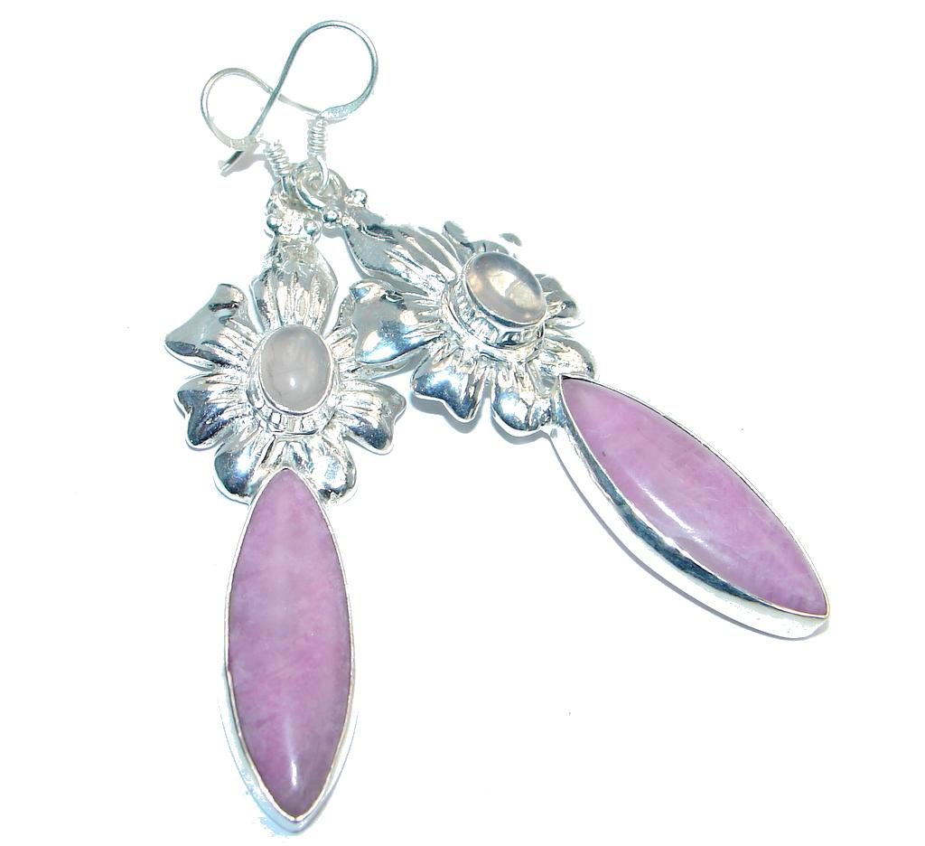 Great Pink Amethyst Peridot Silver Tone earrings