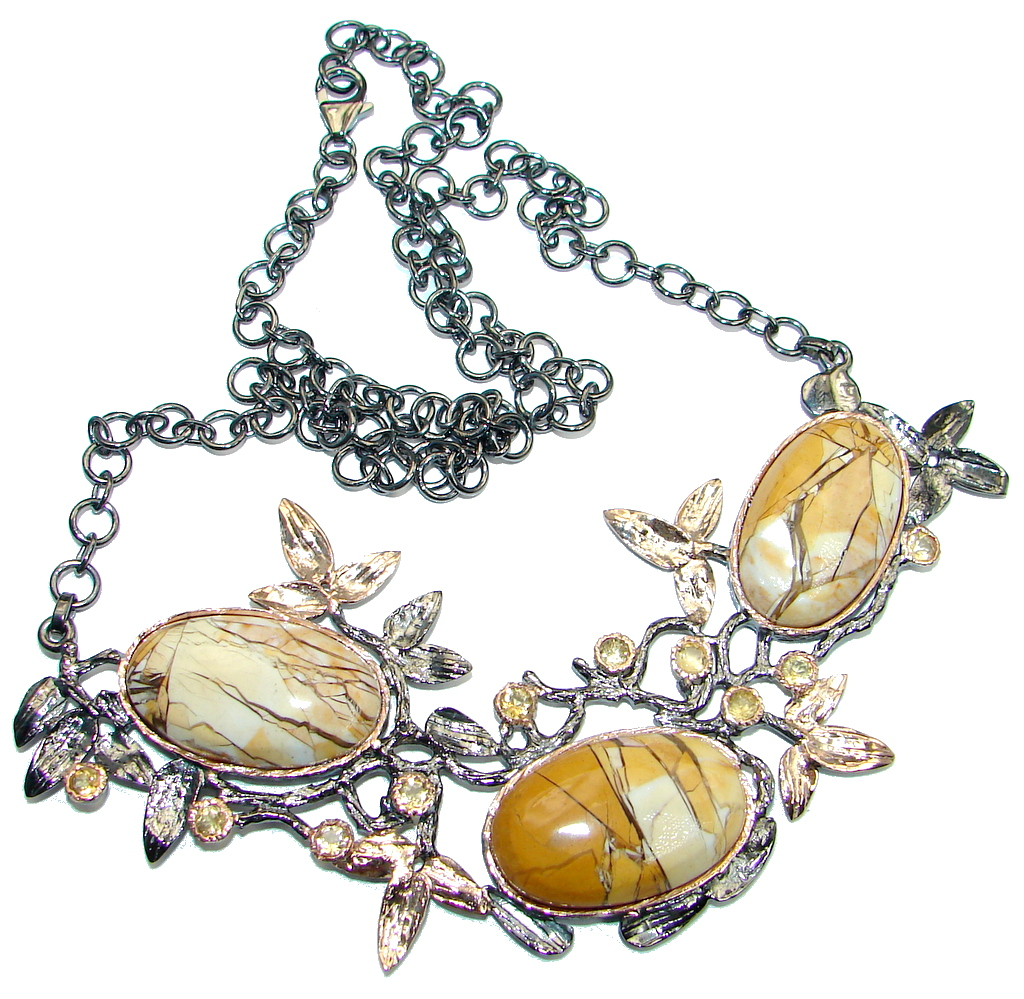 Excellent quality Australian Brecciated Mookaite Gold plated over Sterling Silver handmade necklace