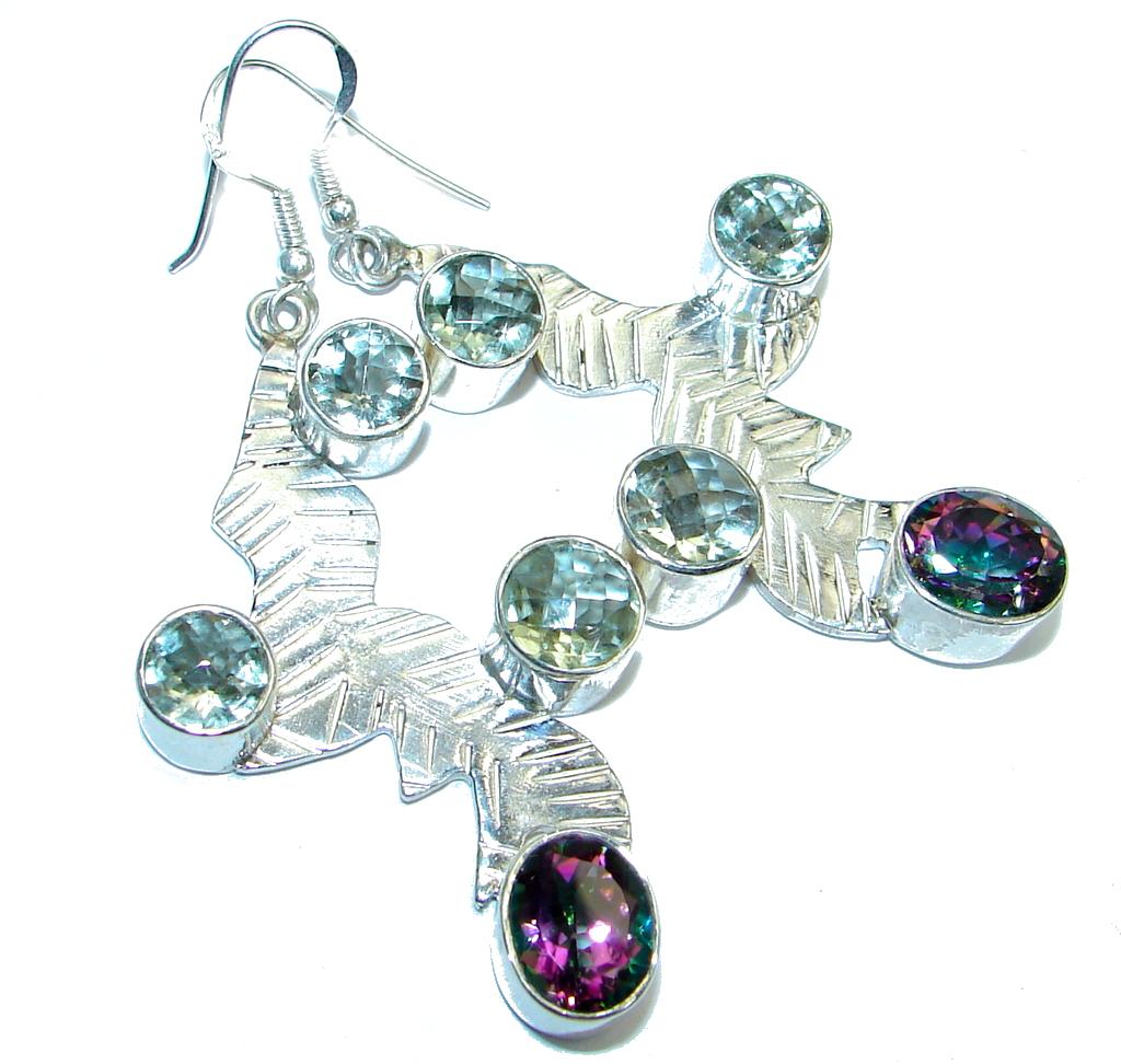 Bohemian Style Natural Green Amethyst Sterling Silver handmade earrings