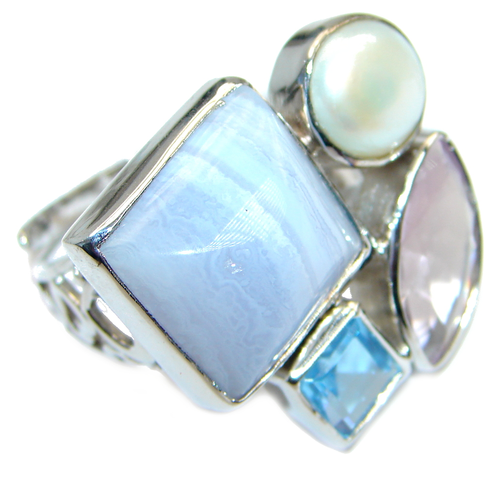Delicate Light Blue Lace Agate Sterling Silver Ring s. 7