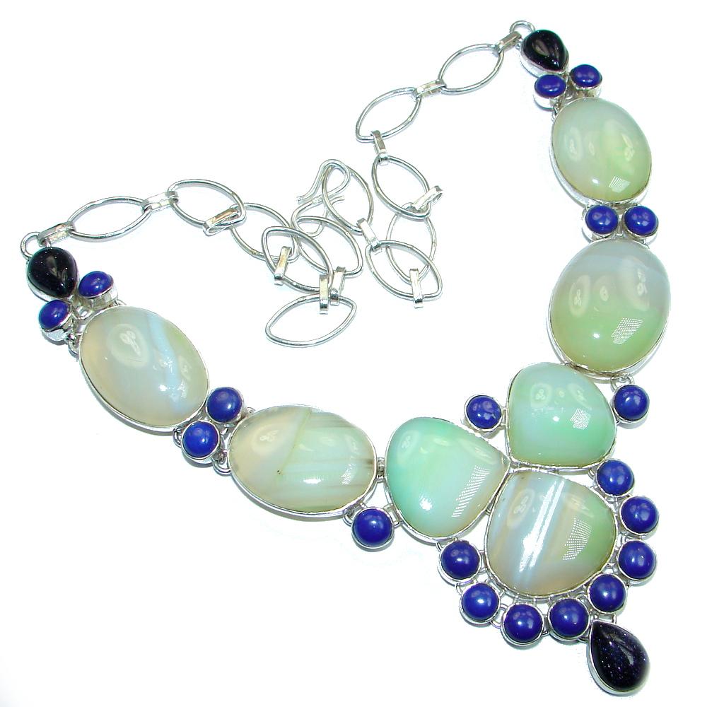 Huge Agate Lapis Lazuli Sterling Silver handmade necklace