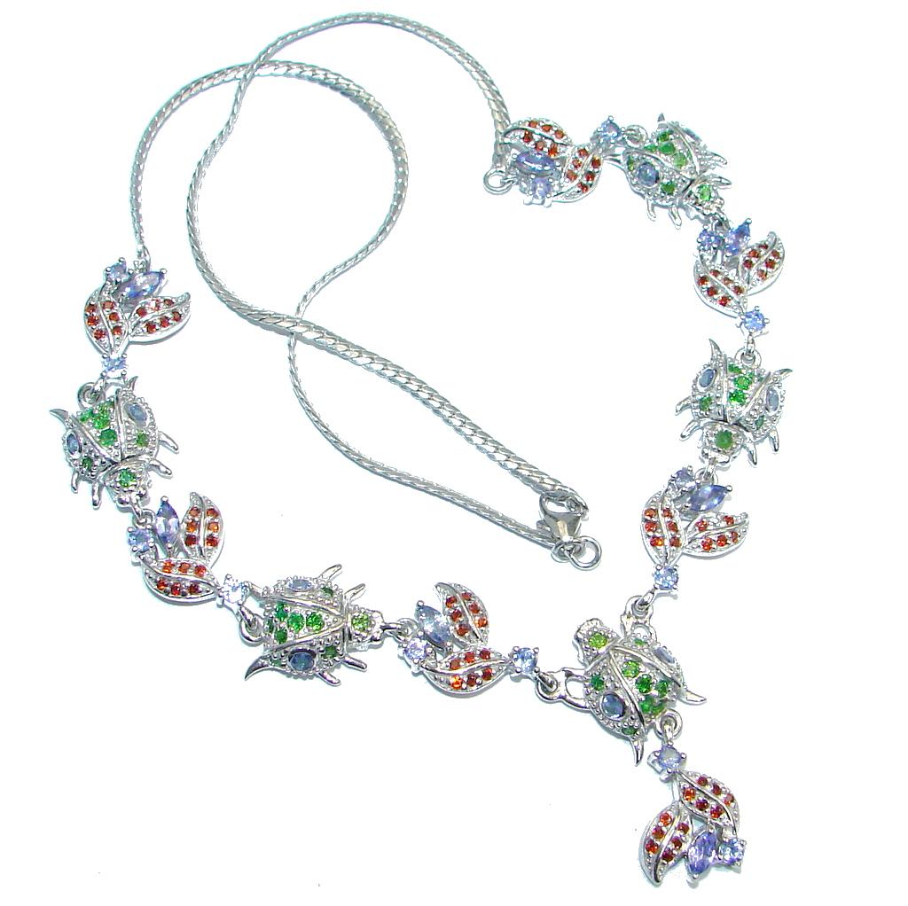 Five Ladybugs Natural Tanzanite Chrome Diopside Mozambique Garnet 925 Silver Necklace