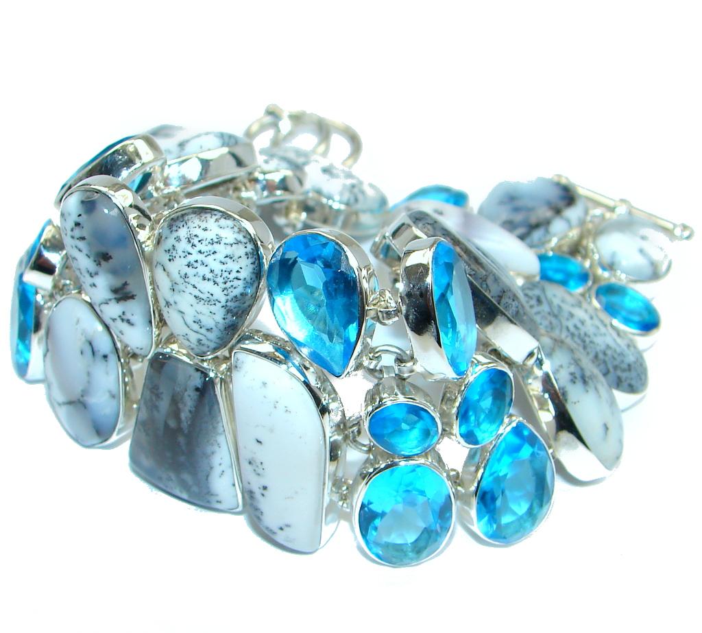 Jumbo Solid Genuine Dendritic Agate and Quartz Sterling Silver handmade Bracelet