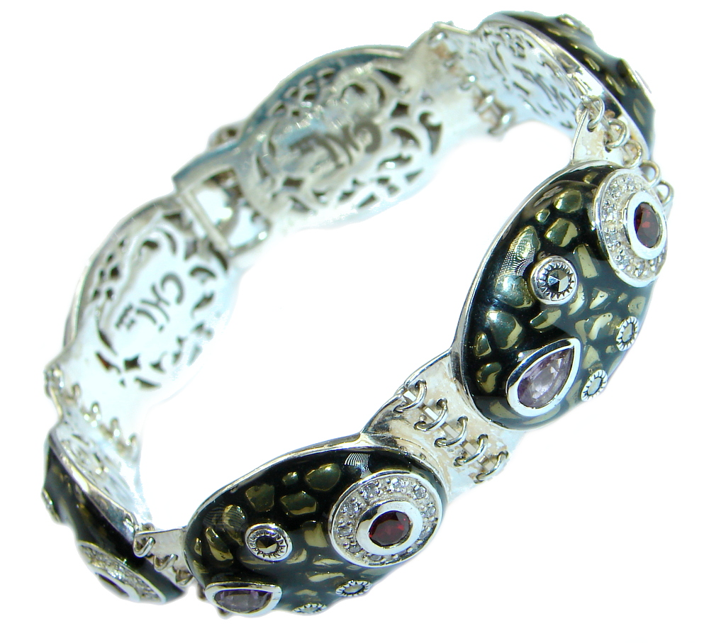 Precious Natural Rich Amethyst Rhodolite Garnet 925 Sterling Silver bracelet