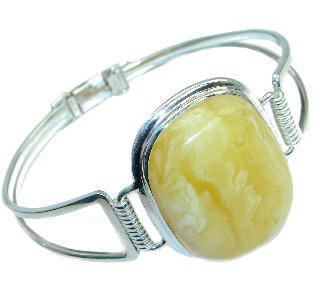 Wonderful genuine Butterscotch Baltic Amber Sterling Silver handmade Bracelet / Cuff