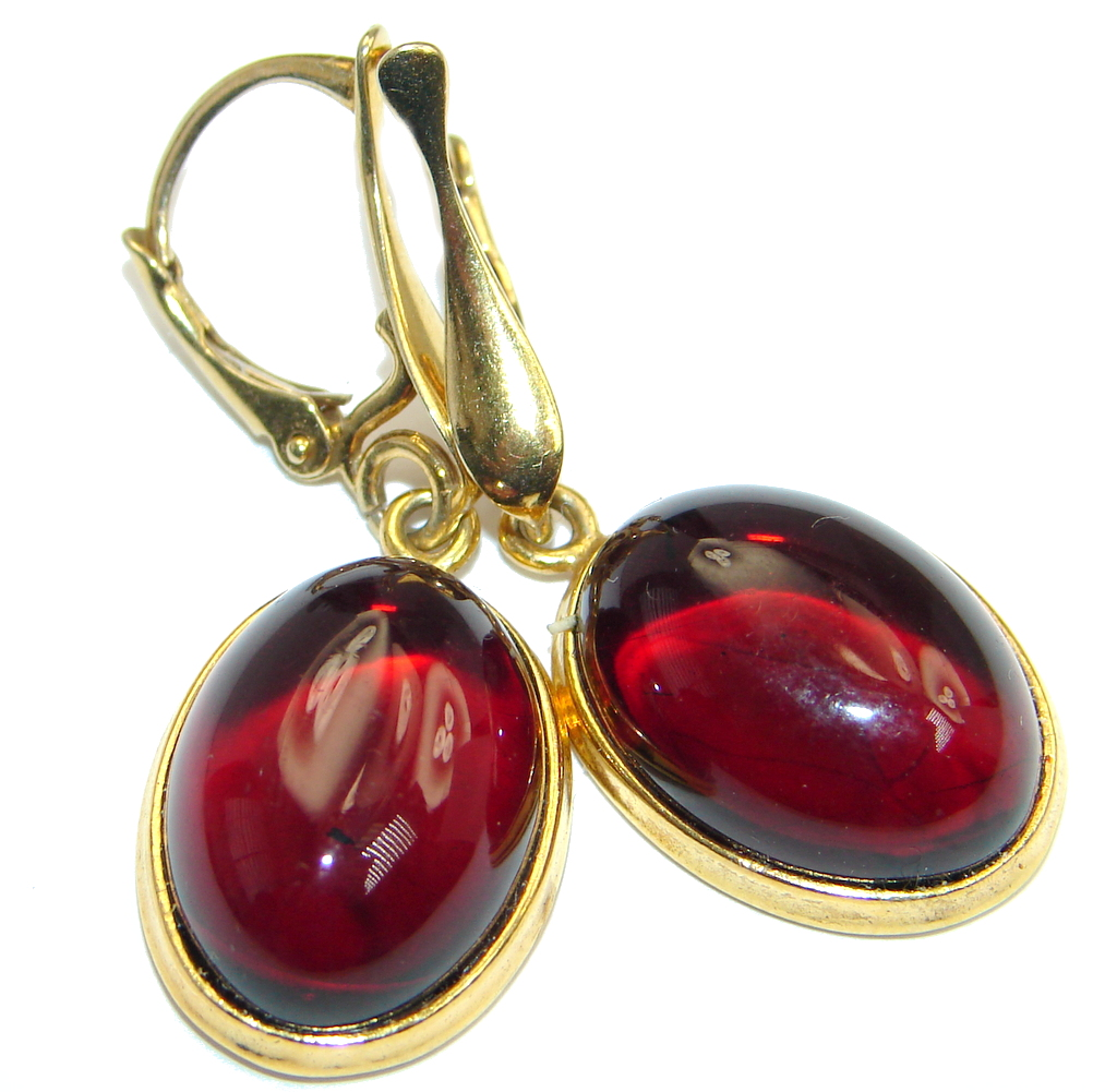 Luxury Genuine Baltic Polish Amber 18ct Gold plated over Syterling Silver handmade Earrings
