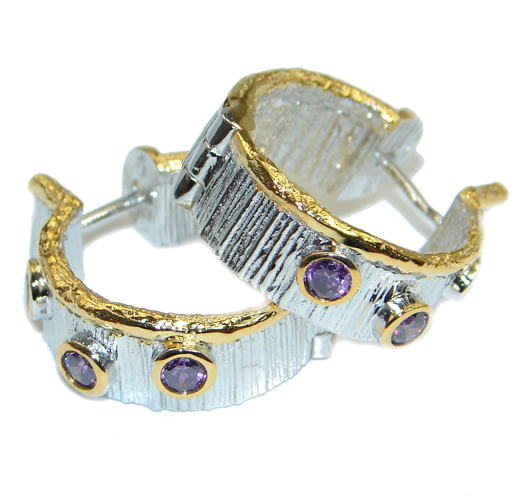 Natural Amethyst Gold plated over Sterling Silver handmade earrings