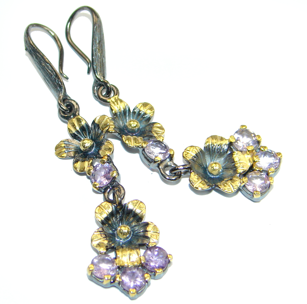 Floral design Natural Amethyst gold plated over Sterling Silver handmade earrings