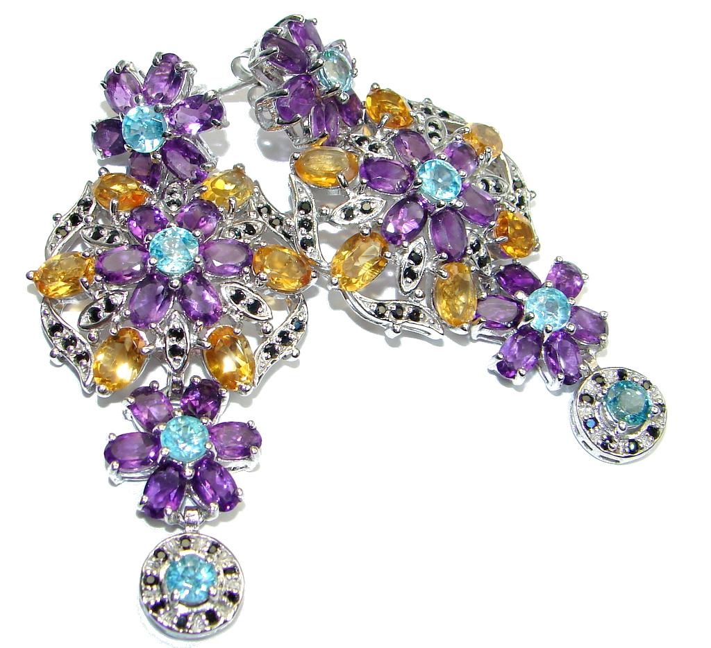 Jumbo Luxury Round Apatite Amethyst Citrine Spinel 925 Sterling Silver stud Earrings