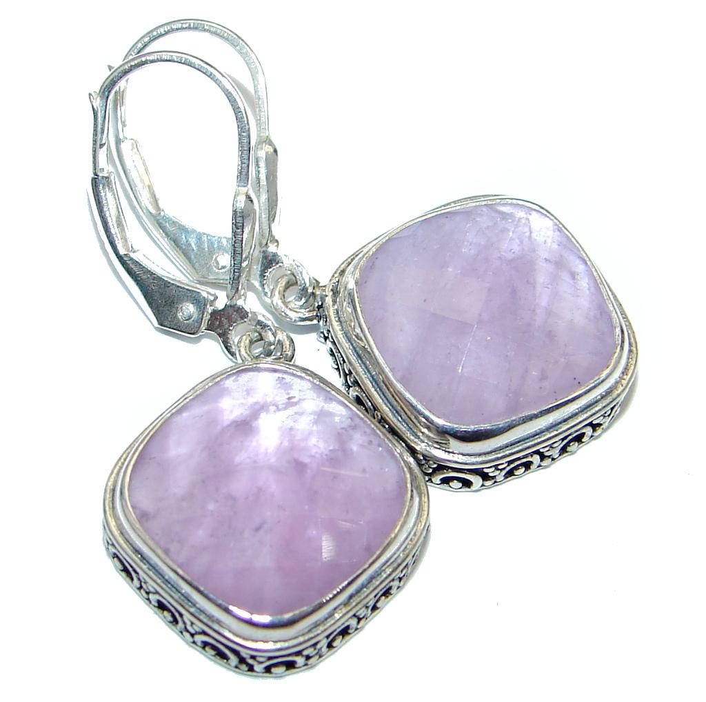 Genuine Faceted Pink Amethyst Sterling Silver earrings