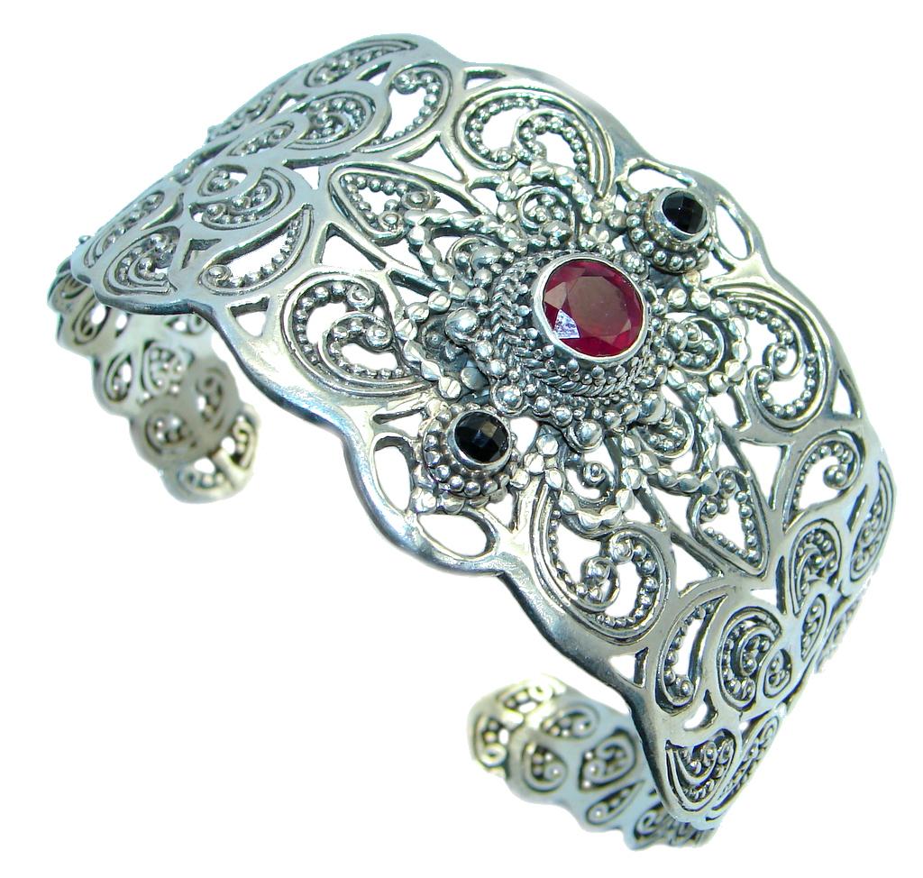 Chunky Genuine genuine  Garnet  Sterling Silver handcrafted Bracelet / Cuff