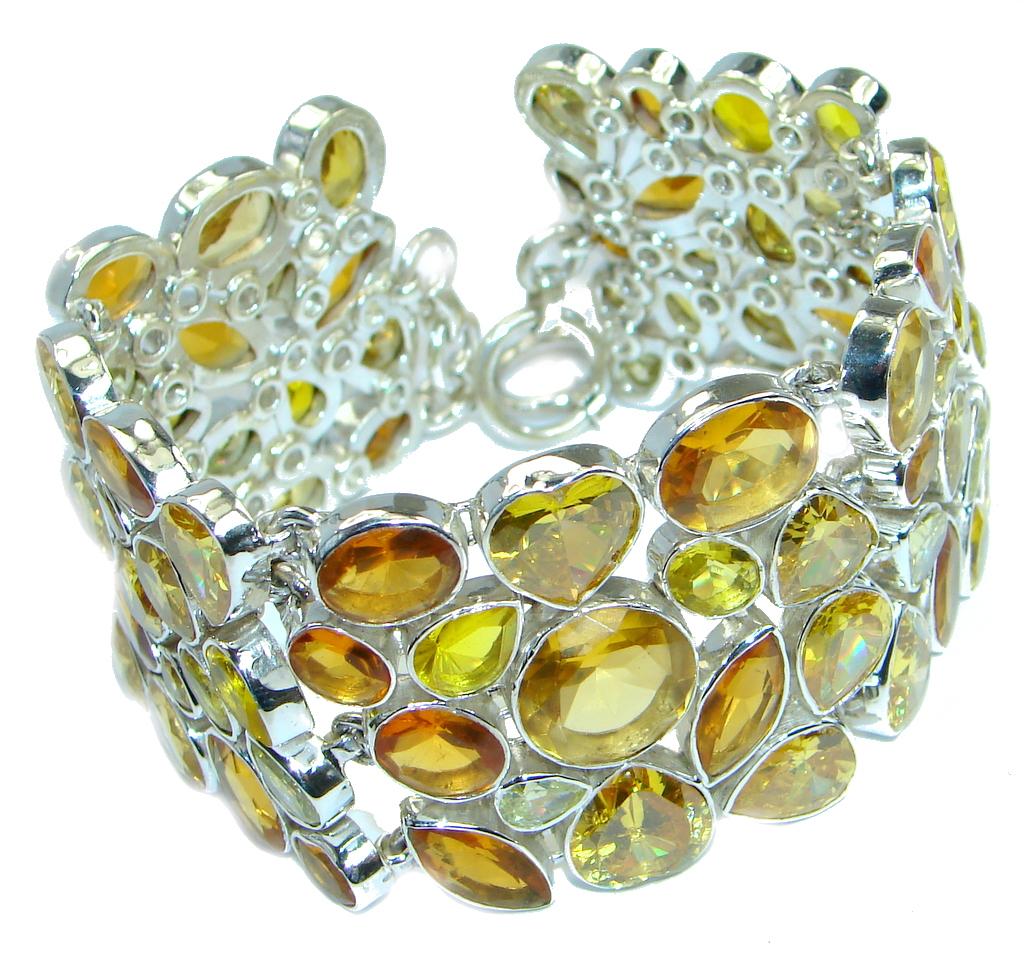 Chic Hoho Yellow River Chunky Cubic Zirconia  Sterling Silver handmade Bracelet
