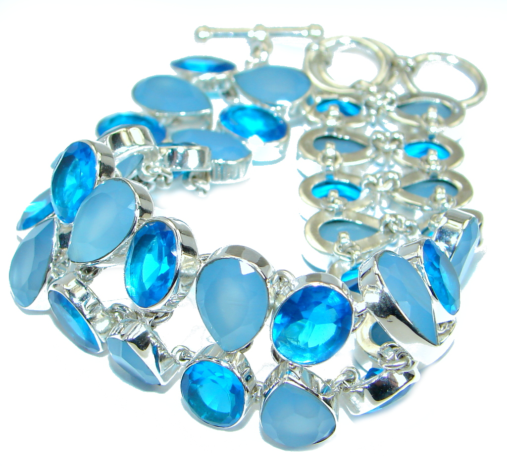 Chic Genuine Chalcedony Agate .925 Sterling Silver handcrafted Bracelet