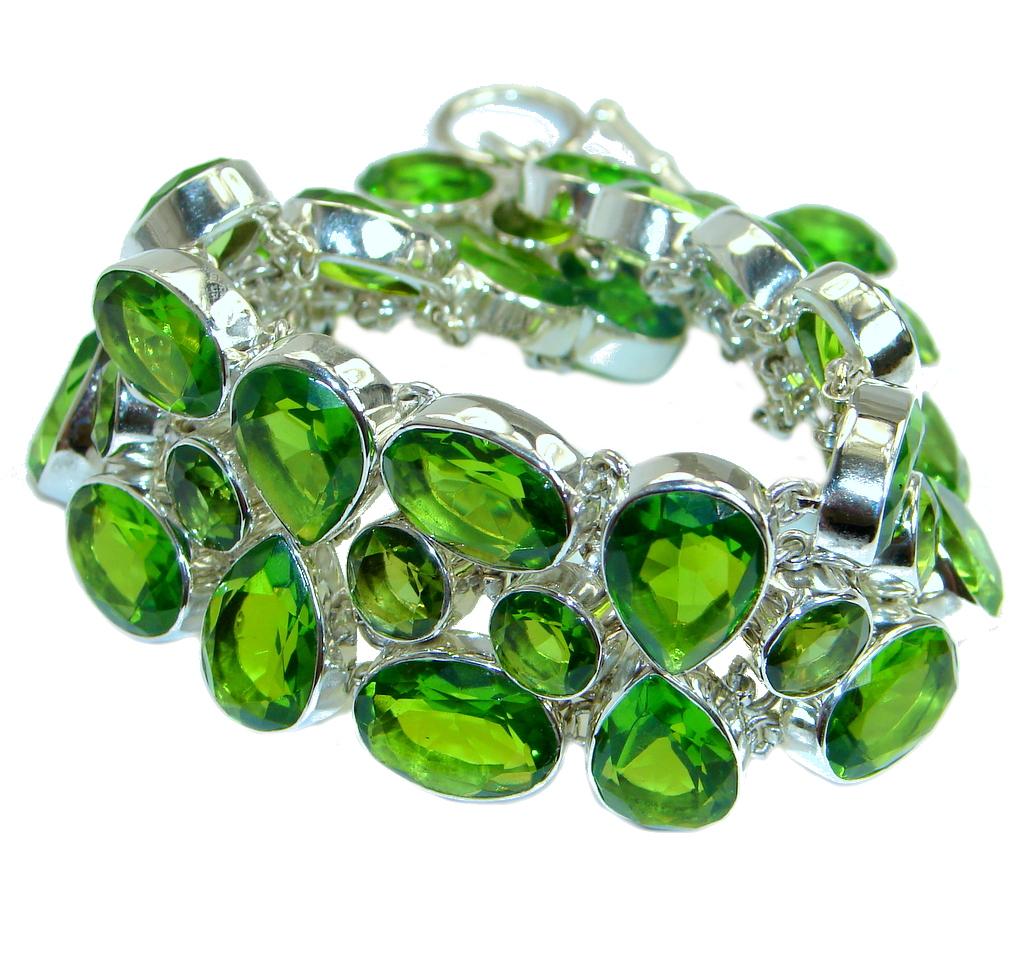 Huge Chic Green Quartz .925 Sterling Silver handcrafted Bracelet