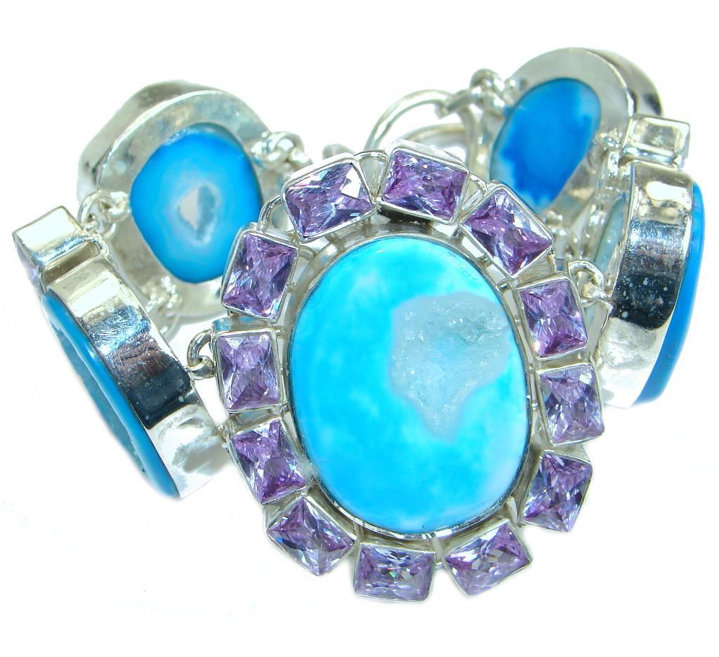Huge Chunky Design Blue City Lights Agate Druzy .925 Sterling Silver Bracelet
