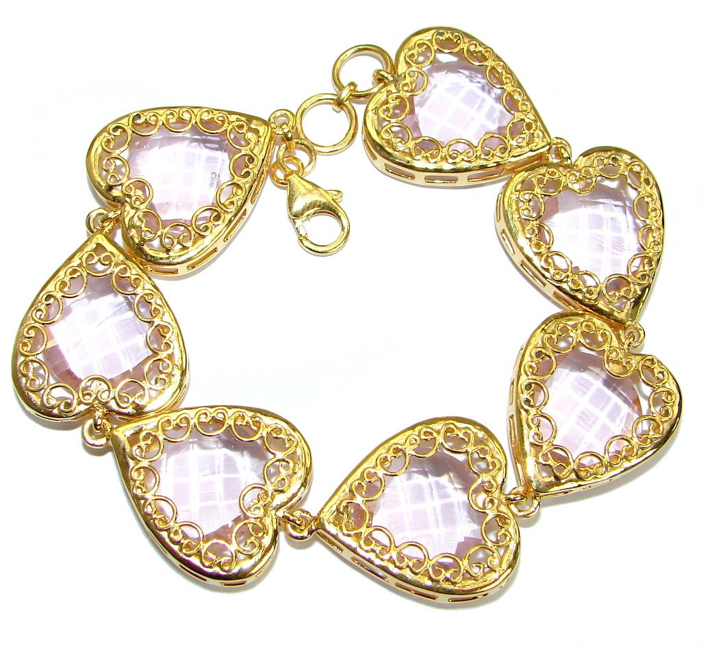 Chic Pink Cubic Zirconia  Rose 14K Gold over .925 Sterling Silver handmade Bracelet