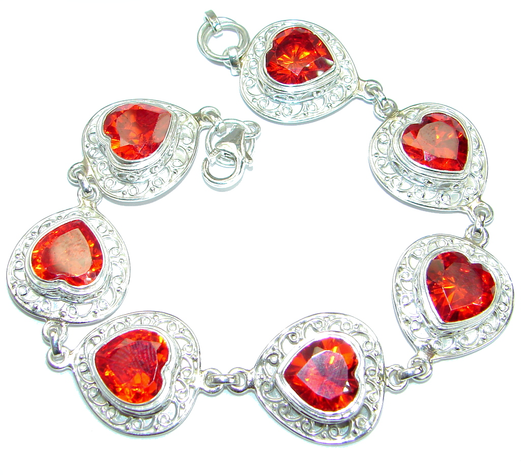 Chic Red   Topaz  .925 Sterling Silver handmade Bracelet