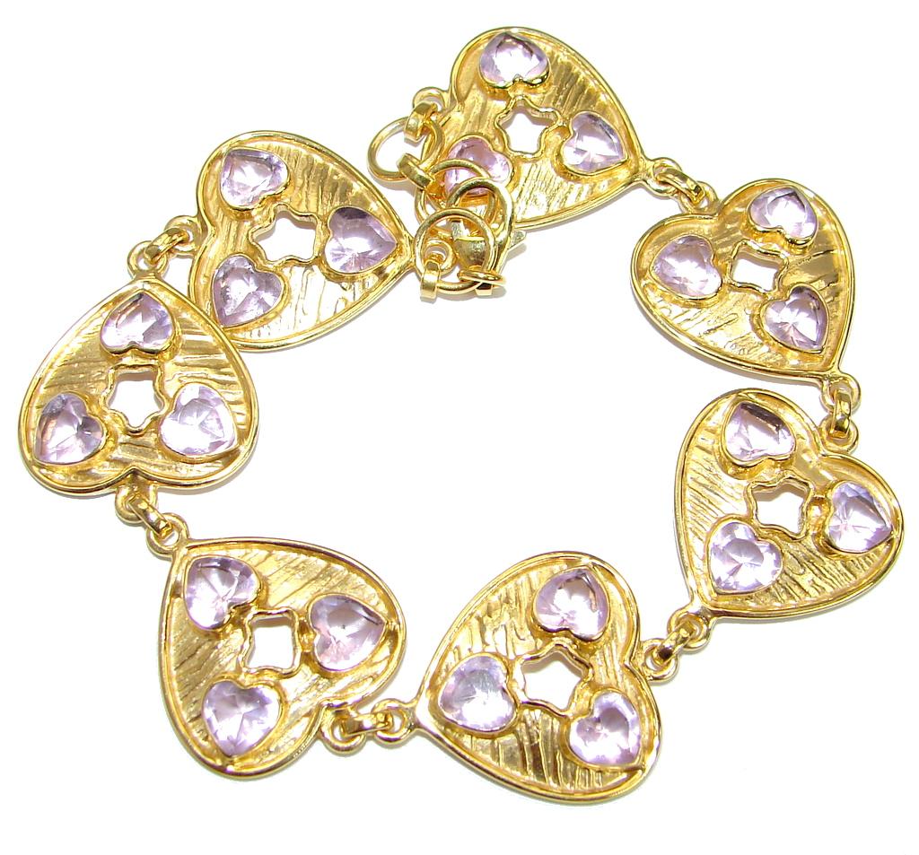 Chic   Pink   Topaz  14 K Gold over .925 Sterling Silver handmade Bracelet