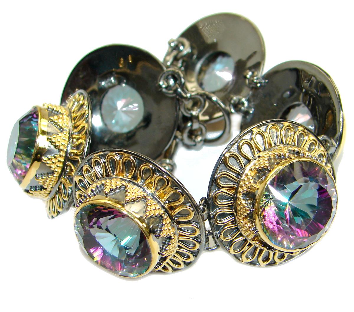 Chic Magic Quartz 14K Gold over  .925 Sterling Silver handmade Bracelet