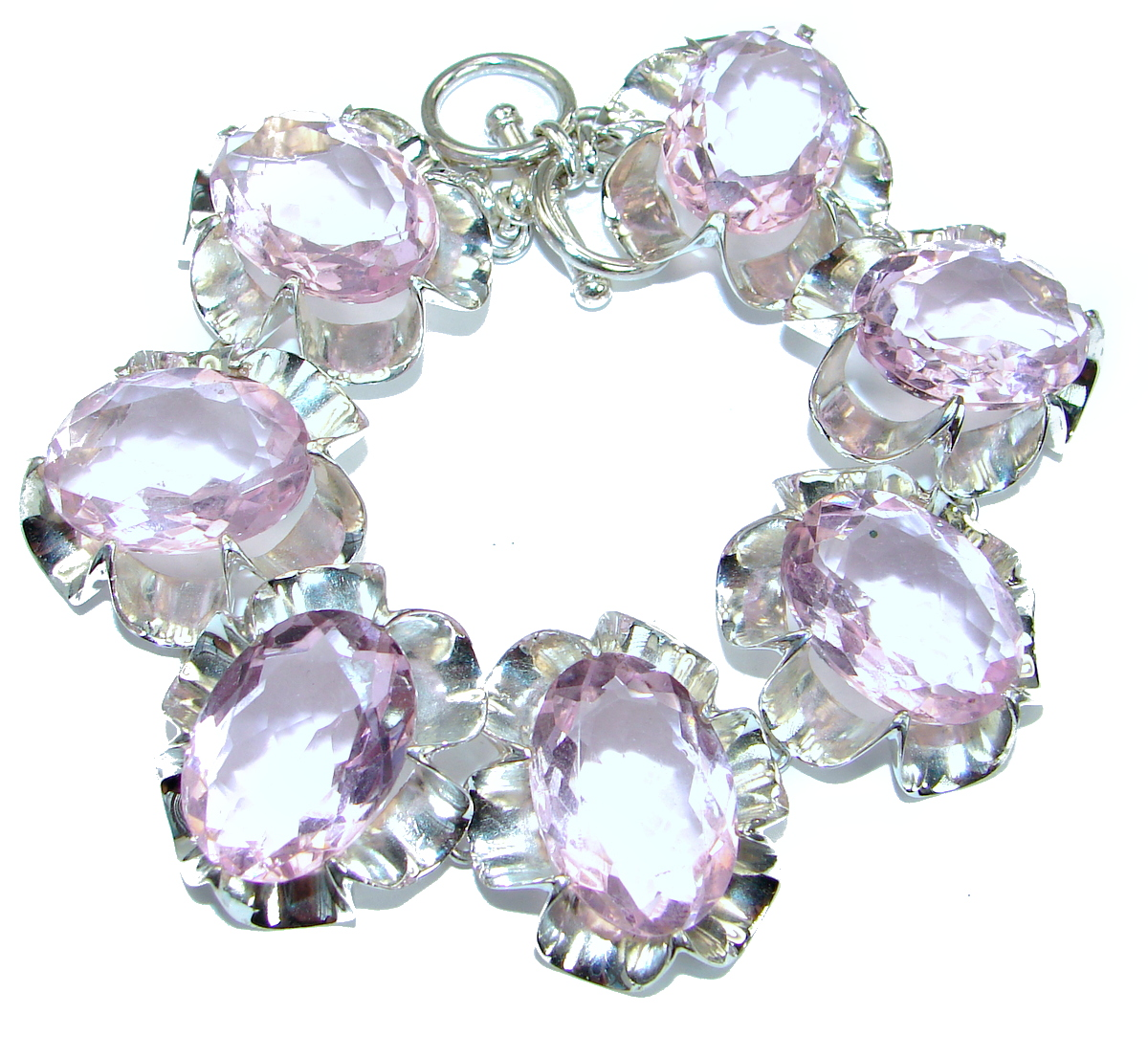 Huge Chic Oval Cut Princess  Quartz .925 Sterling Silver handcrafted Bracelet