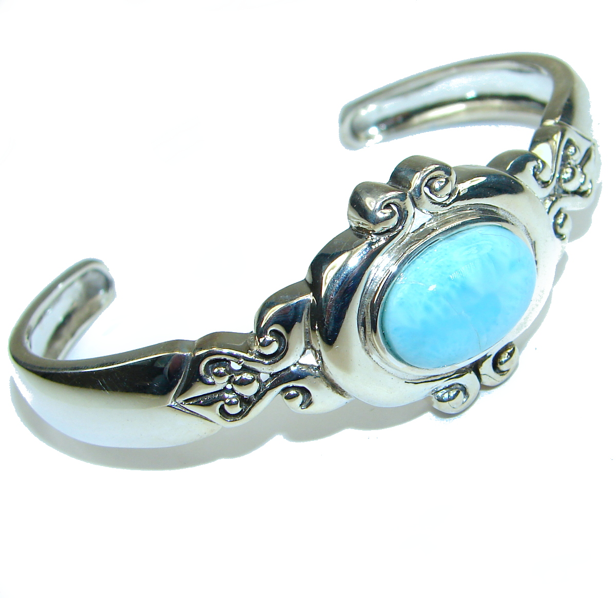 Great quality Blue Larimar  highly polished .925 Sterling Silver handmade  Bracelet / Cuff