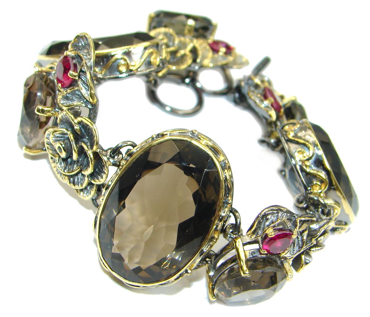 Carmen Smoky Topaz 14K Gold over .925 Sterling Silver handcrafted Bracelet
