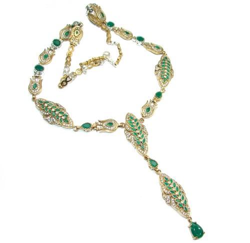 9c2ce51e0 Victorian Style created Green Emerald & White Topaz .925 Sterling Silver  necklace