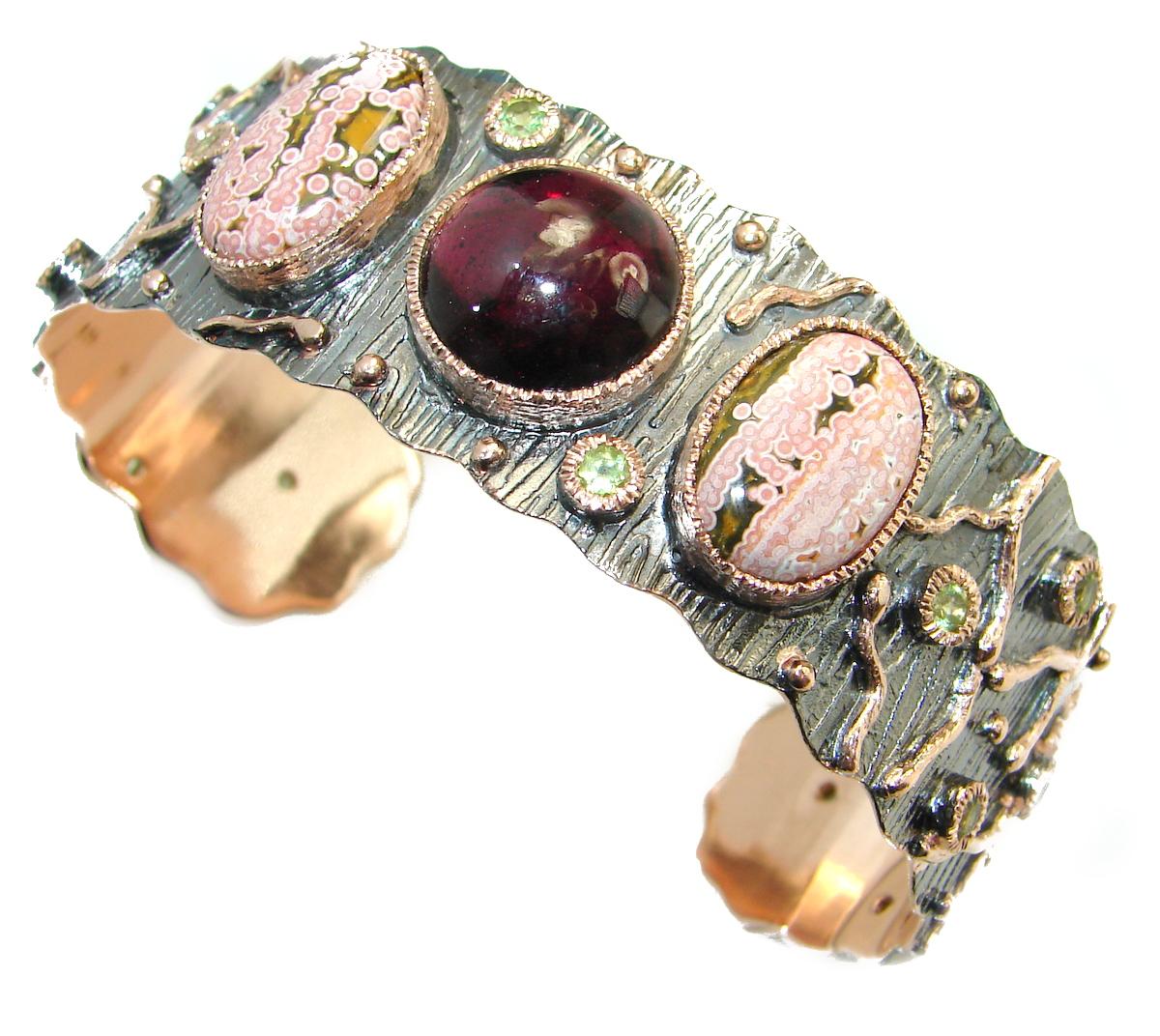 Genuine genuine  Garnet Rose Gold plated over .925  Sterling Silver handcrafted Bracelet / Cuff