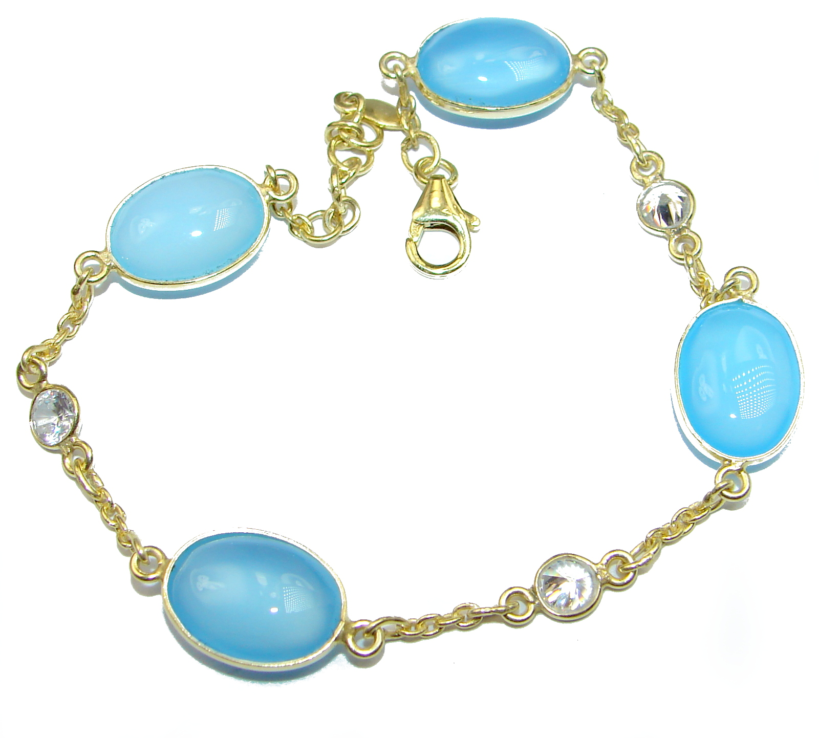 Genuine Chalcedony Agate .925 Sterling Silver handcrafted Bracelet