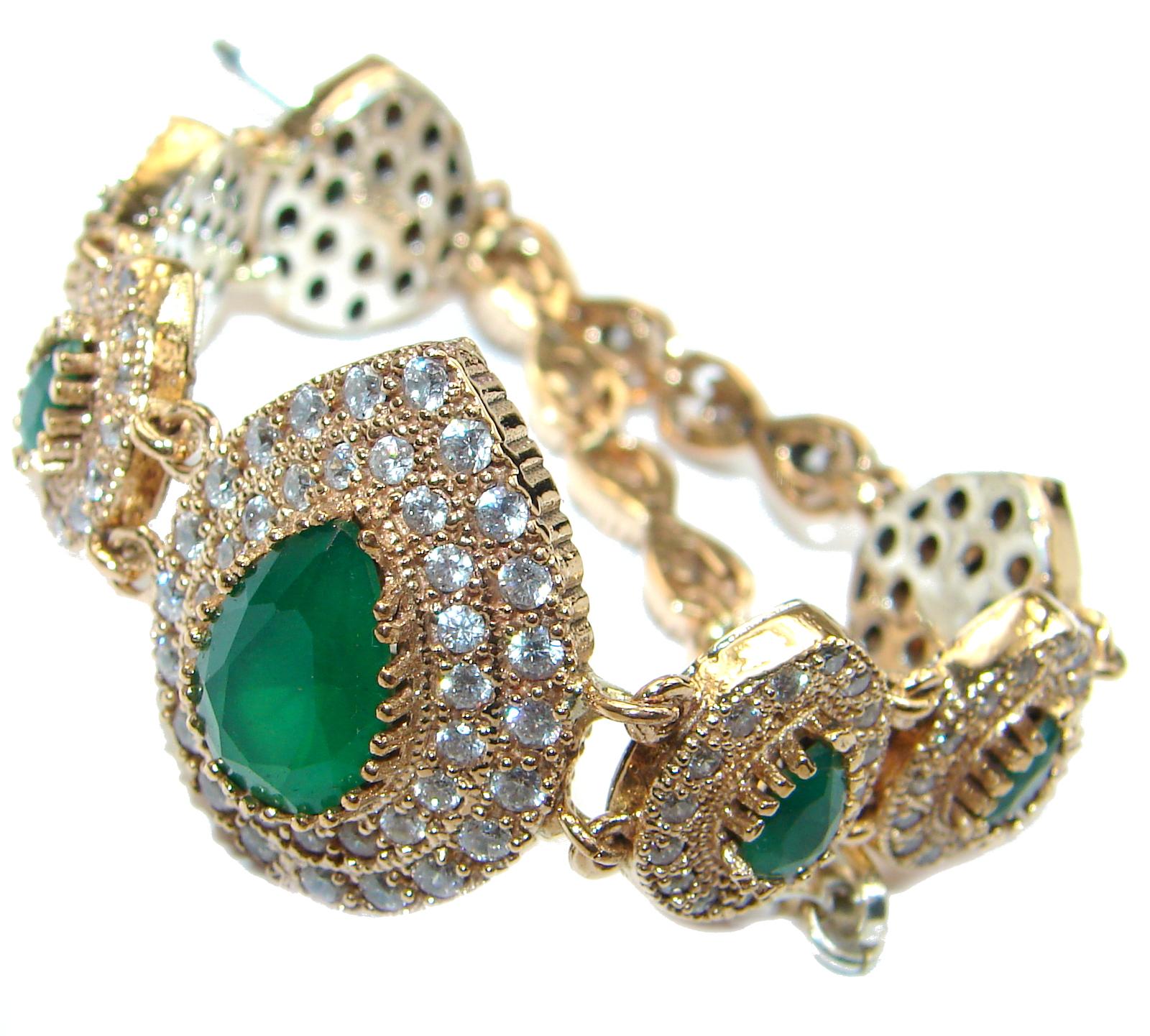 Created Emerald 14K Rose Gold over .925 Sterling Silver handcrafted Bracelet