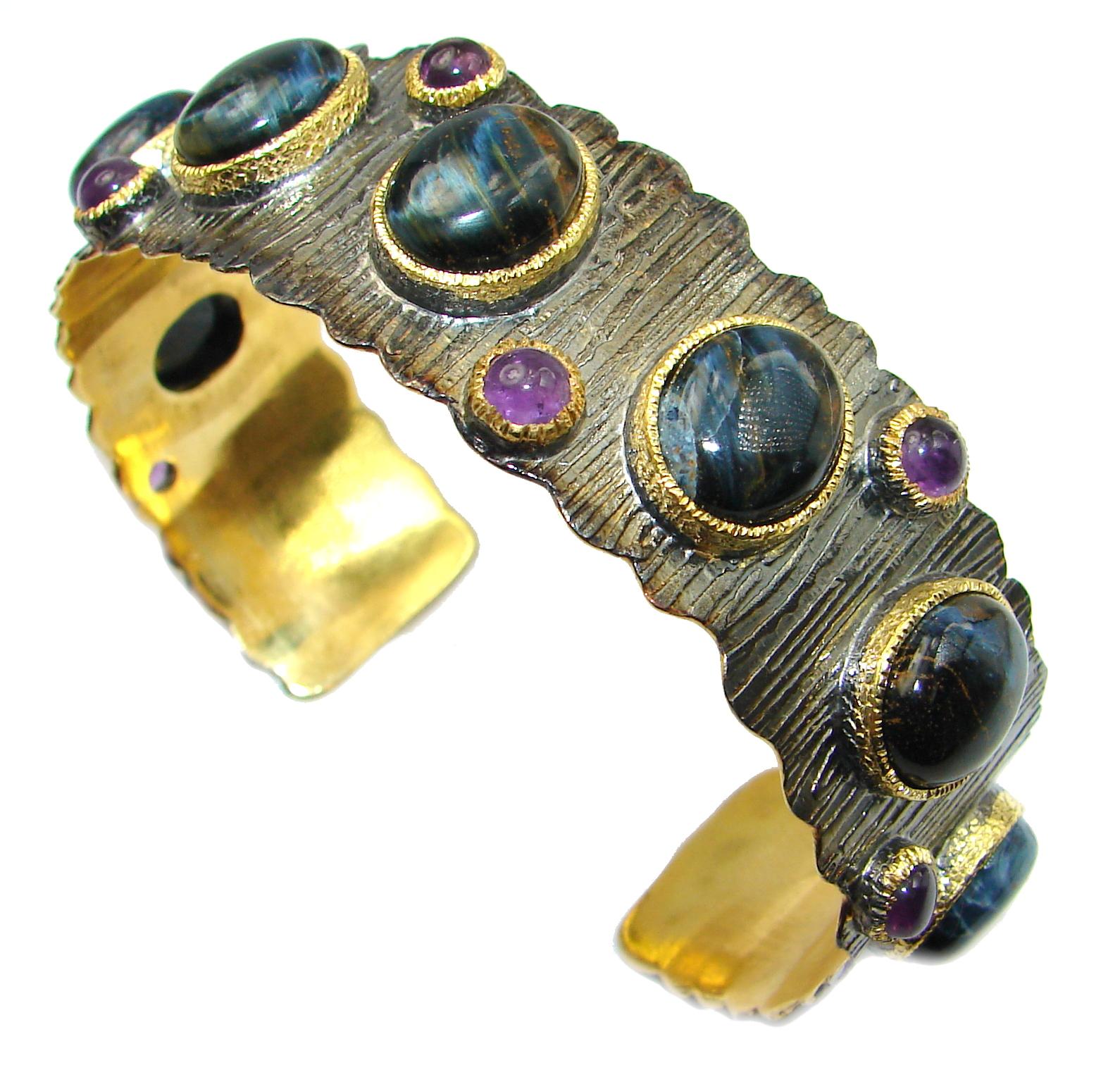 Genuine Golden Pietersite 14K Gold over .925 Sterling Silver handmade Bracelet Cuff