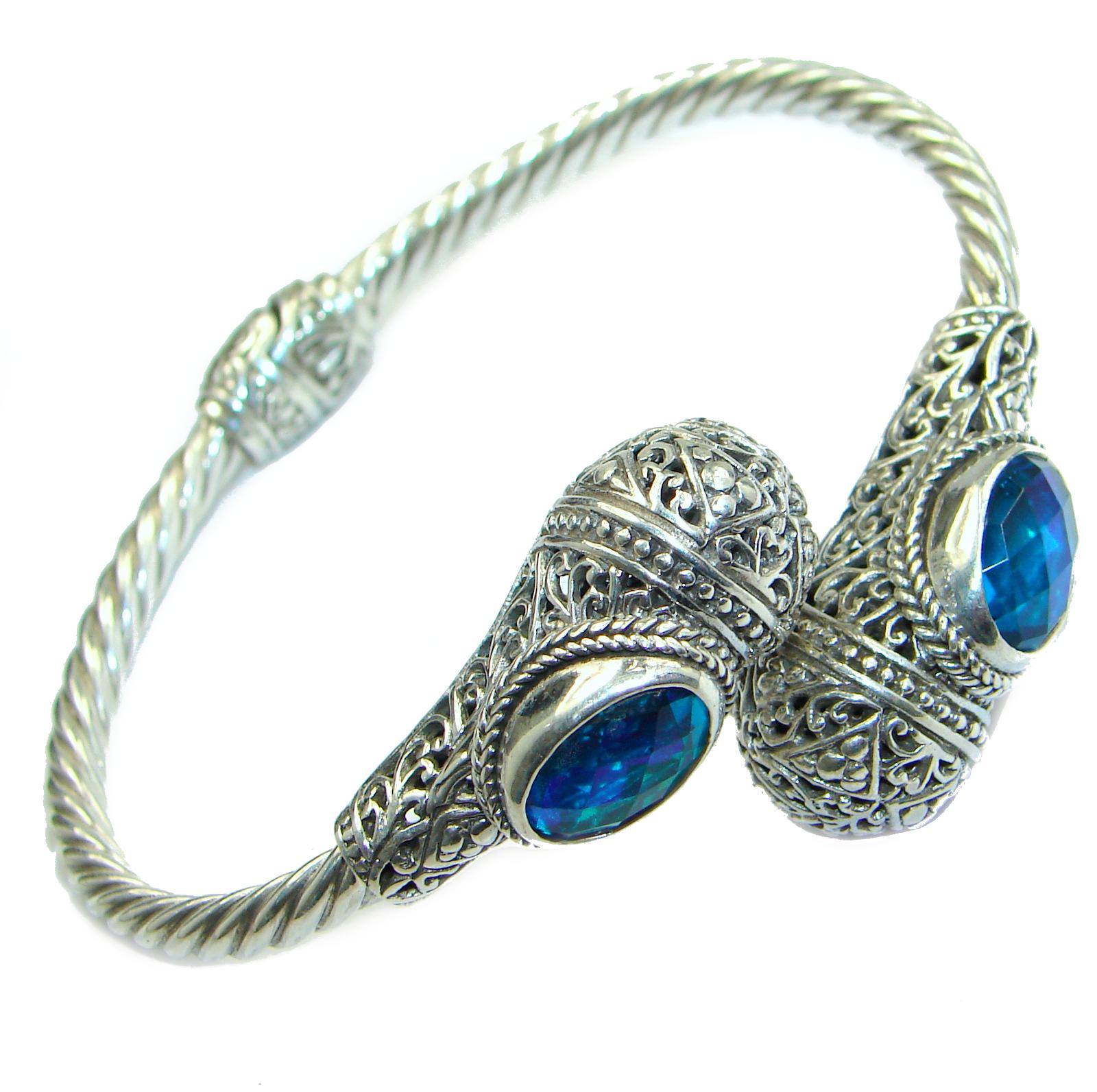Chunky Luxury Volcano Magic Topaz .925 Sterling Silver handmade Cuff/Bracelet