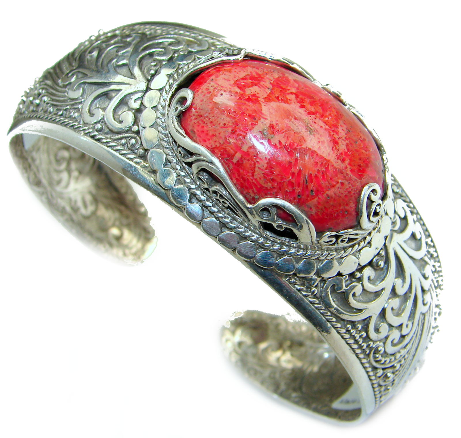 Huge Bamboo Fossilized Coral .925 Sterling Silver handmade   Bracelet / Cuff