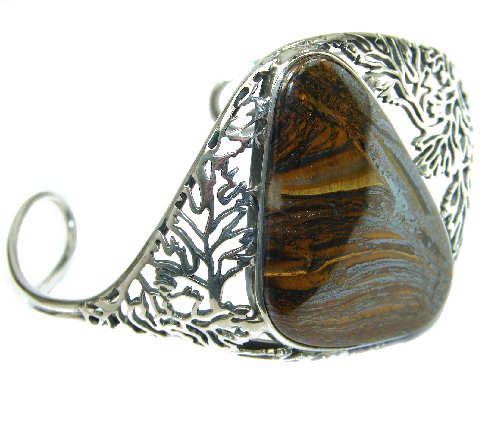 Gorgeous Golden  Tigers Eye  .925 Sterling Silver handcrafted Bracelet / Cuff