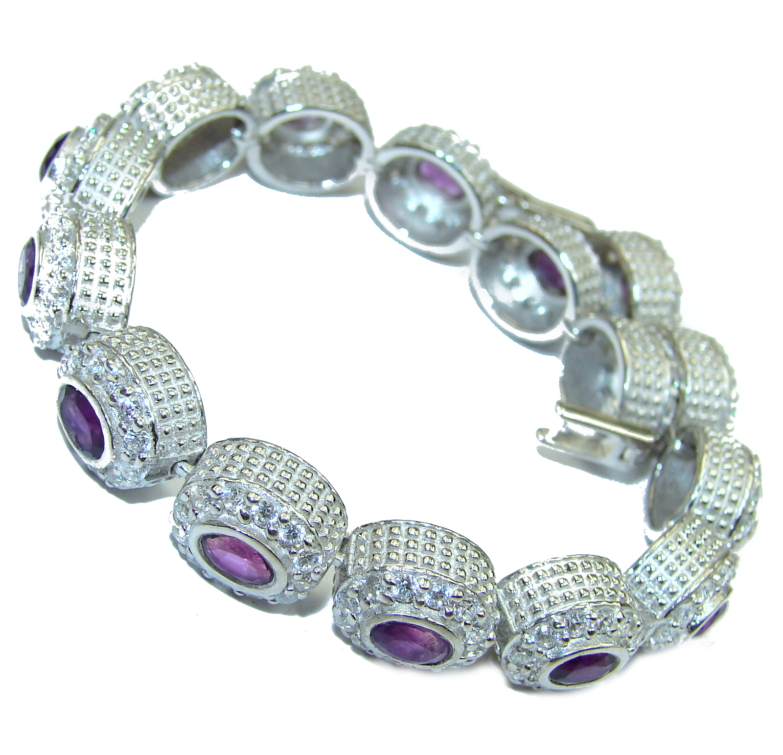 Chunky authentic Amethyst   .925 Sterling Silver handcrafted Bracelet