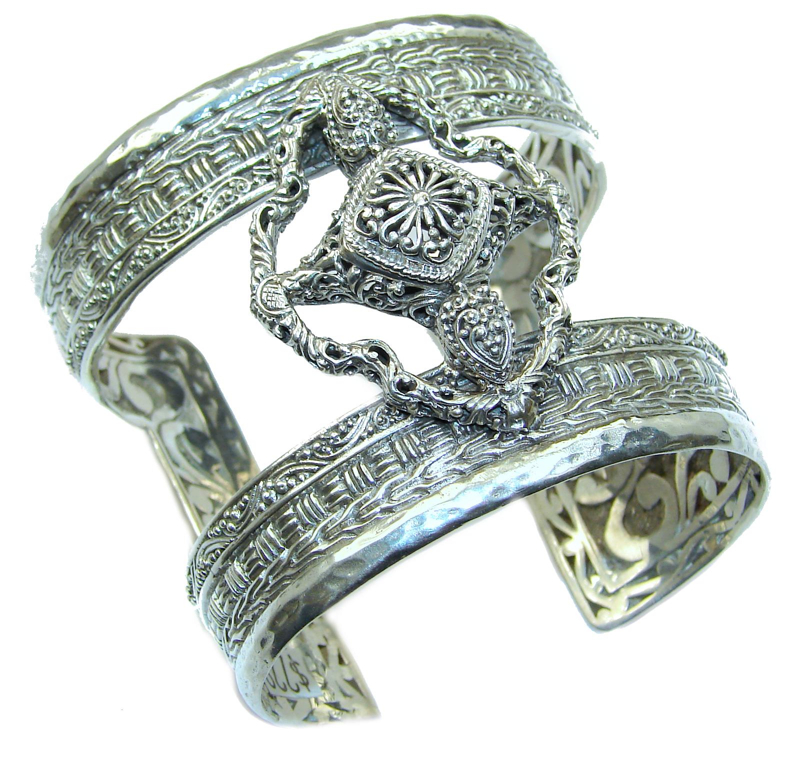 Huge 82.9 grams Celtic Cross  Design .925 Sterling Silver handcrafted Bracelet / Cuff