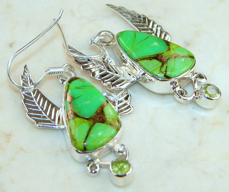 Classy Green Turquoise Silver Sterling earrings