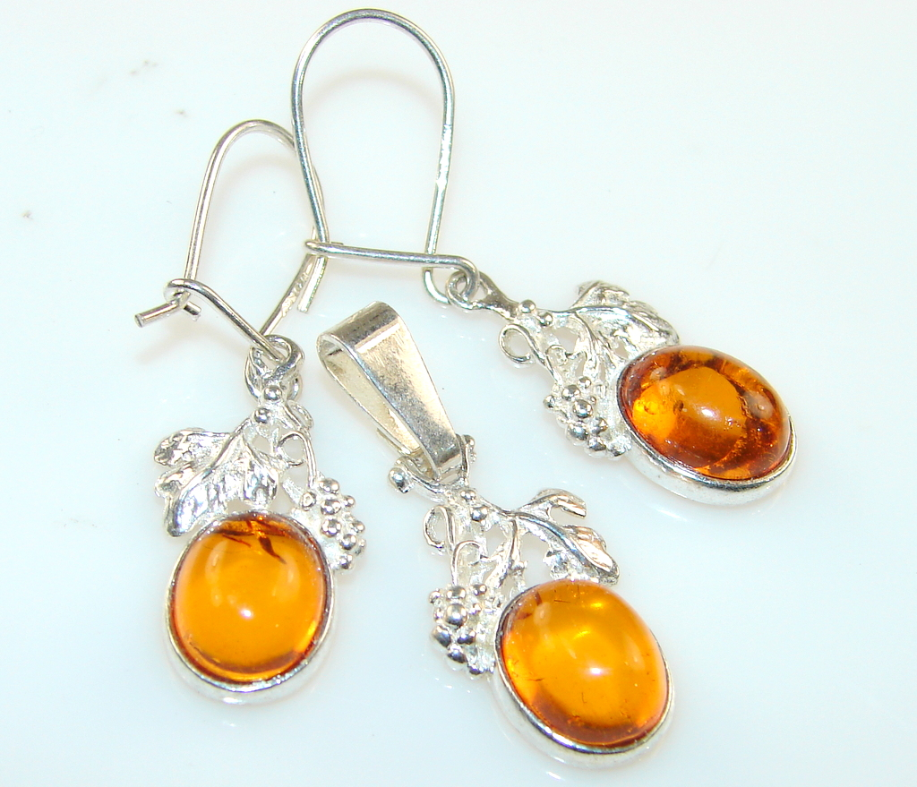 Classy style Of Golden Amber Sterling Silver earrings