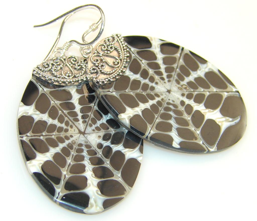 Forest Night, Shell Silver Sterling earrings