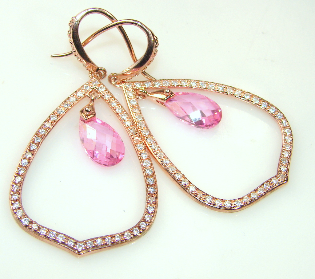 Glittering!! Rose Gold 14ct. Plated Pink Topaz Sterling Silver earrings