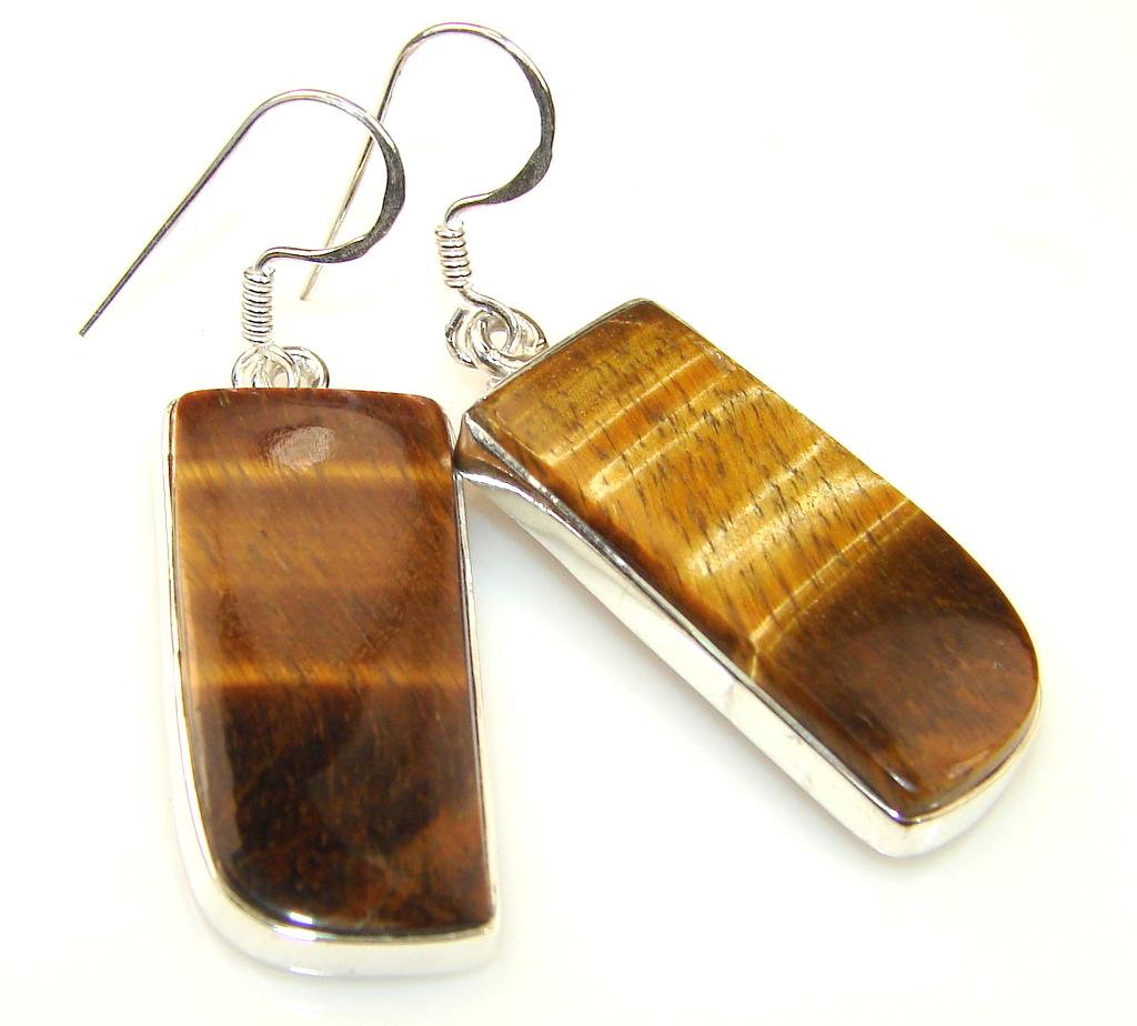 Duality In Brown Tigers Eye Sterling Silver earrings