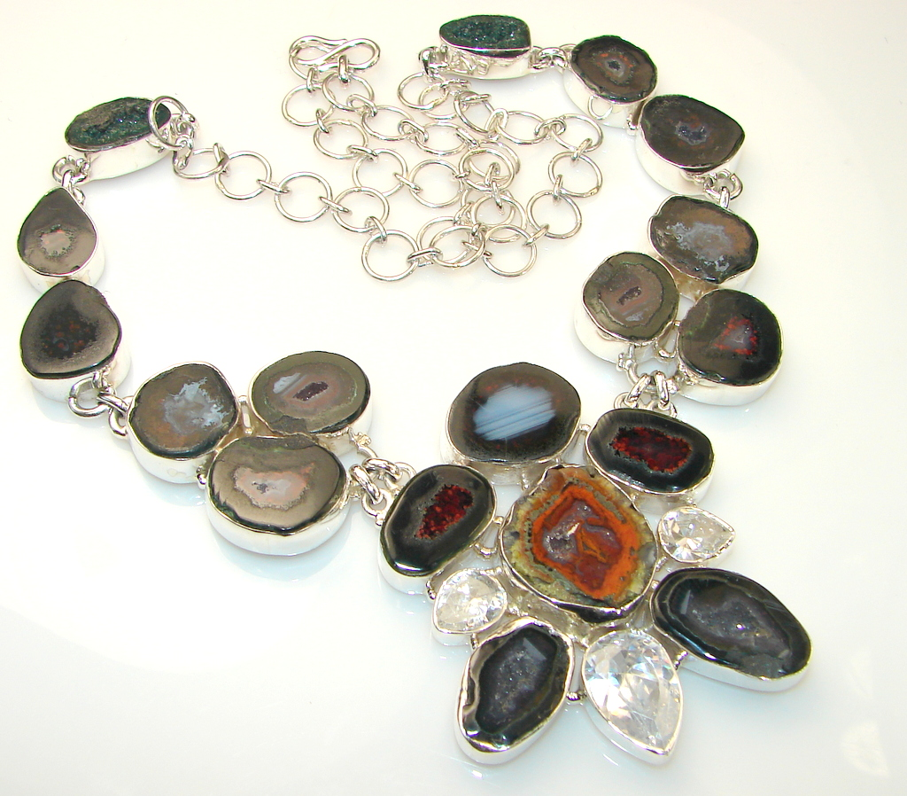 Awesome Color Of Druzy Sterling Silver necklace