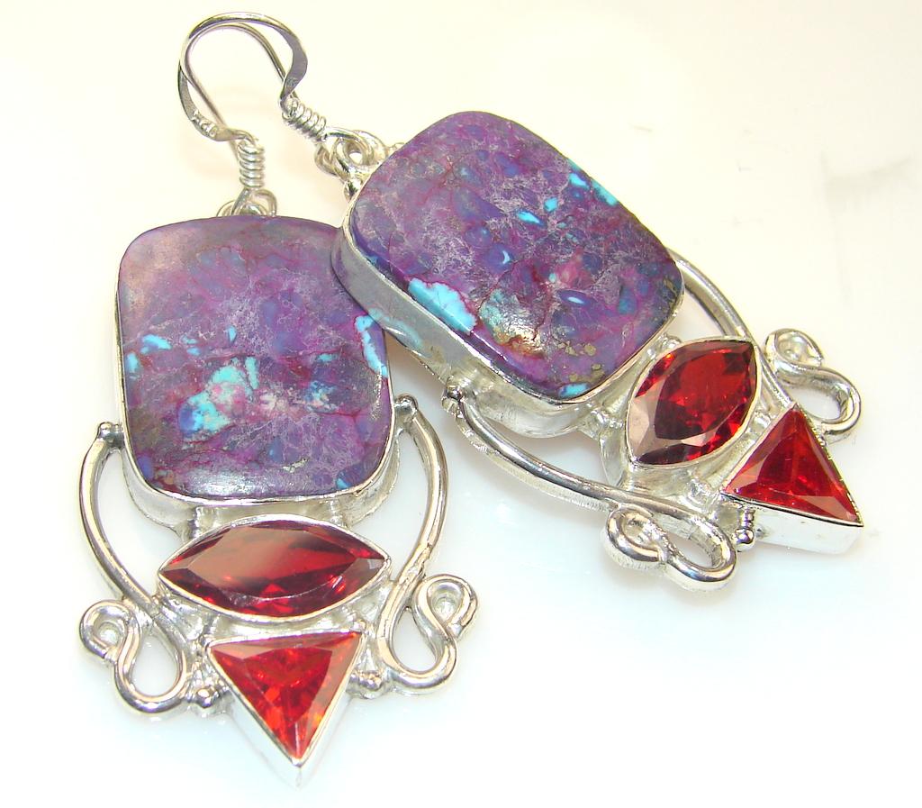 Beautiful Purple Turquoise Sterling Silver earrings
