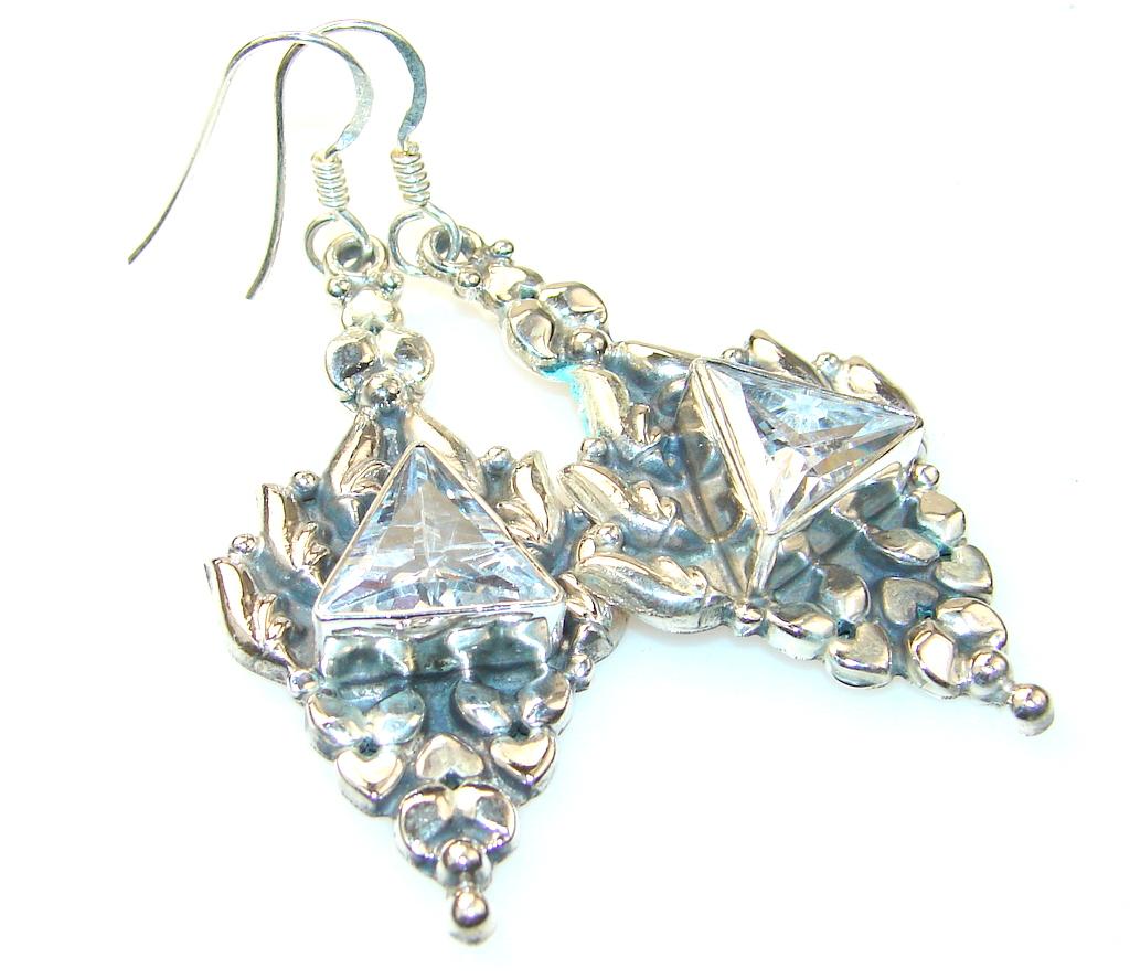 Fancy Look Of White Topaz Sterling Silver earrings