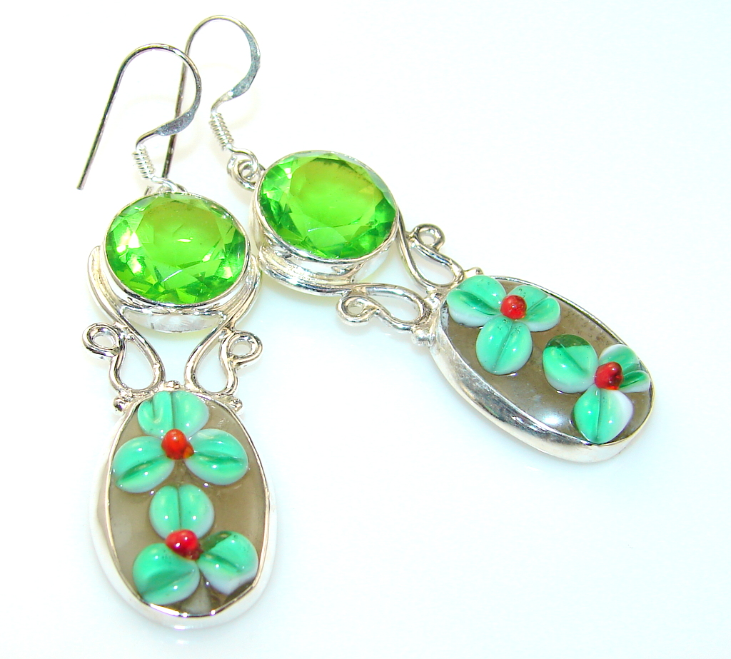 FreeStyle Dichroic Glass Sterling Silver earrings