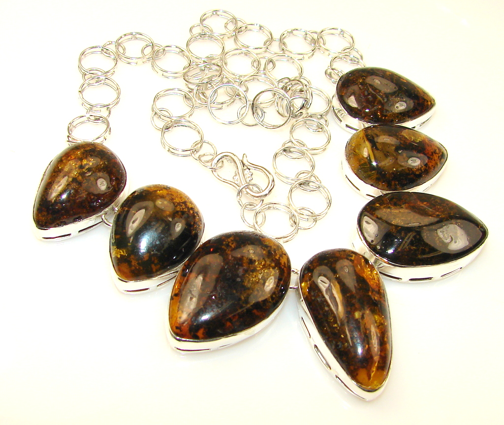 Stylish Polish Amber Sterling Silver necklace