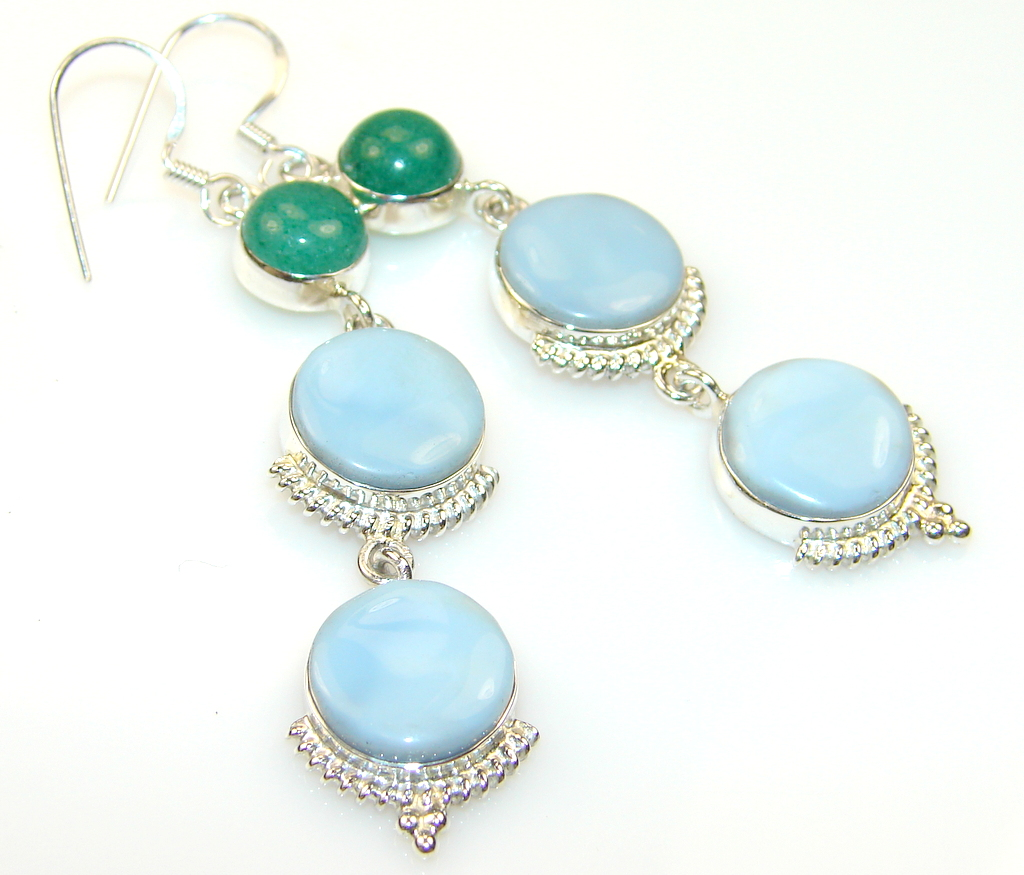 Blue Carioca Melody Angelite Silver earrings