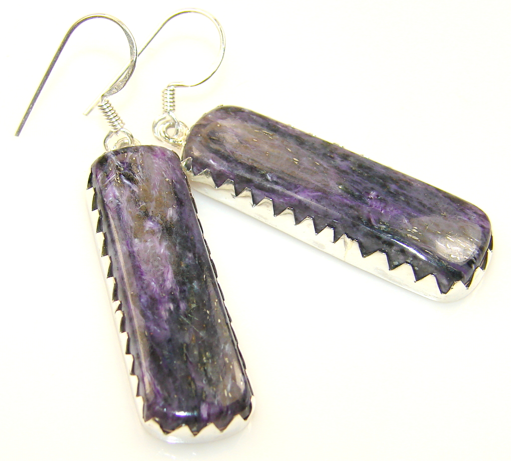 Delicate Charoite Sterling Silver earrings