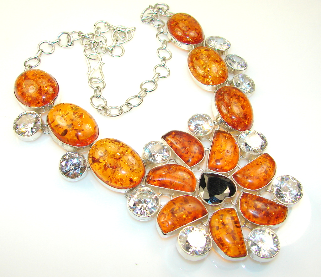 Empress Stabilized Polish Amber Sterling Silver necklace