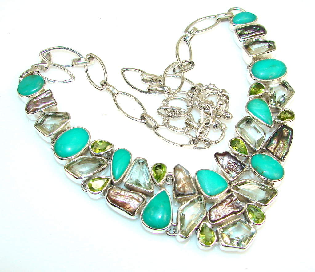 Natural Beauty Chrysoprase Sterling Silver Necklace